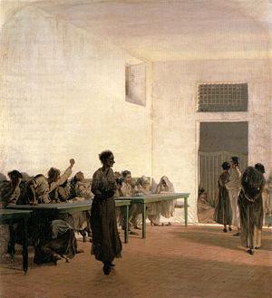 Telemaco Signorini, La sala delle agitate al San Bonifazio in Firenze, 1865, 66x59cm.jpg