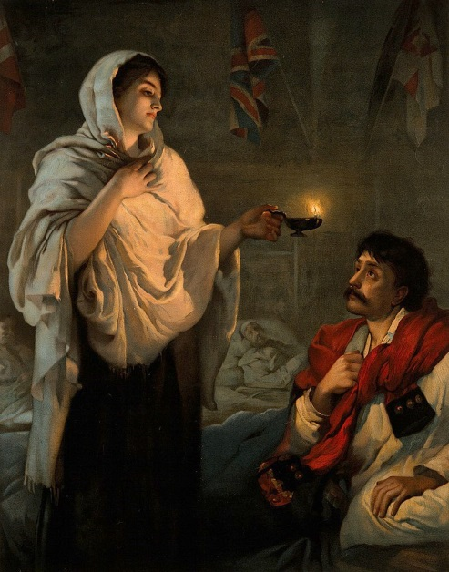 Una nota immagine di Florence Nightingale presso l'Ospedale di Scutari
